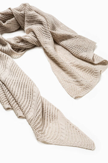 Knitted openwork scarf, Chalk White, hi-res