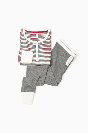 Striped patterned pyjamas in 100% cotton, White/Grey, hi-res
