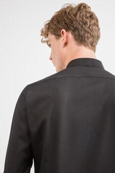 Camicia casual slim fit cotone, Nero, hi-res