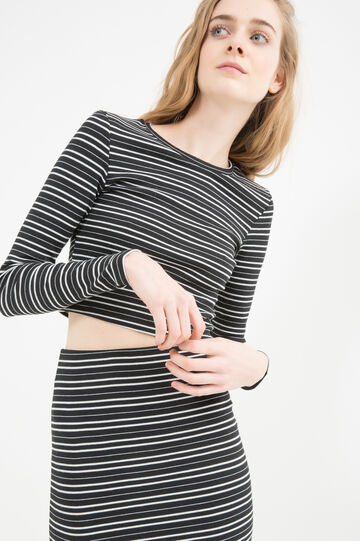 Cotton blend striped, stretch crop top
