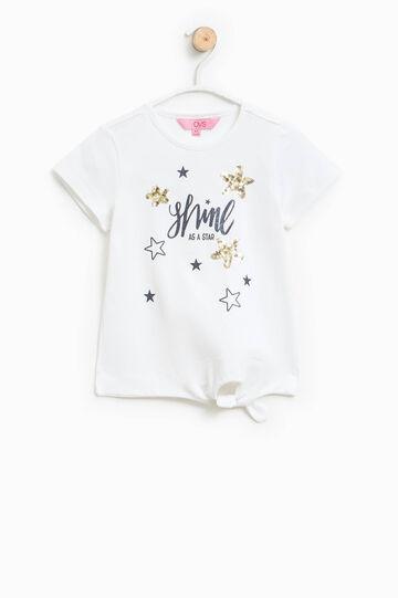Printed T-shirt with ties on hem, Milky White, hi-res