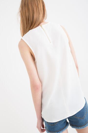 Blusa smanicata tinta unita, Bianco, hi-res