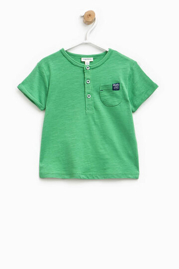 T-shirt with pocket and patch, Green, hi-res
