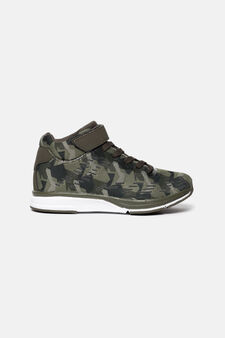 High-top sneakers with geometric theme, Black/Green, hi-res