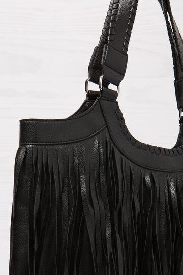 Shoulder bag with fringe, Black, hi-res