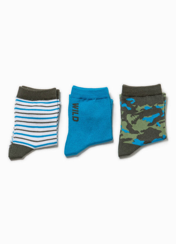 Three-pair pack striped and camouflage socks | OVS