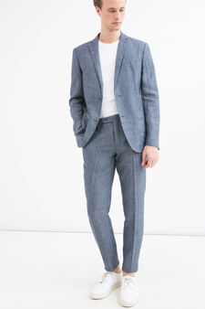 Giacca slim fit in puro lino, Blu chiaro, hi-res