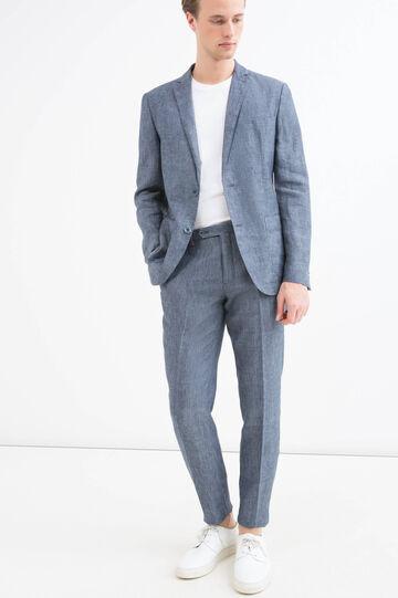 Slim-fit jacket in 100% linen