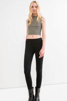 Solid colour stretch ribbed leggings, Black, hi-res