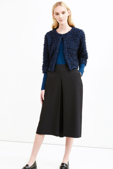 Knitted cropped cardigan, Blue, hi-res