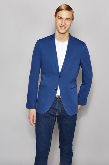 Elegant slim-fit two-button jacket, Royal Blue, hi-res