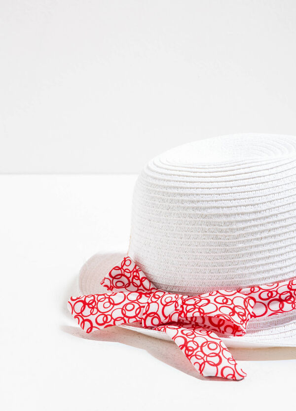 Wide-brimmed hat with striped weave | OVS
