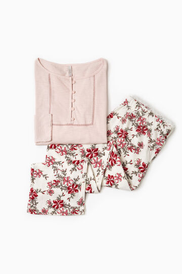 100% cotton pyjamas with all-over print, Pink, hi-res