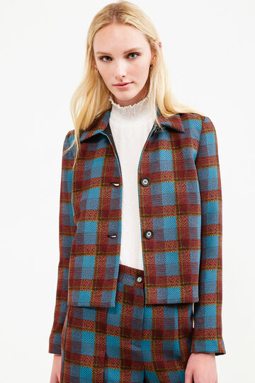 Blazer with tartan pattern and bluff collar., Blue/Brown, hi-res