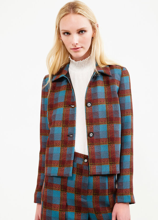 Blazer with tartan pattern and bluff collar. | OVS