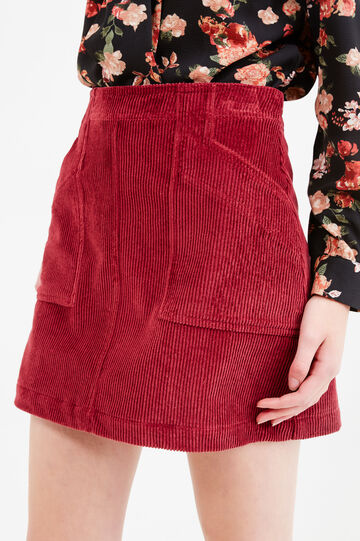 High waist corduroy skirt, Claret Red, hi-res