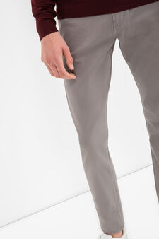 Stretch cotton blend satin trousers, Grey, hi-res