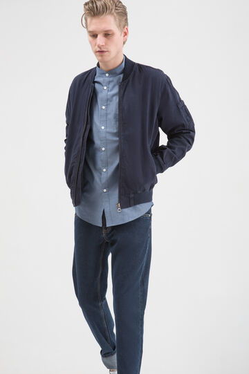 Camicia cotone colletto coreana, Blu, hi-res