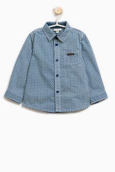 Camicia cotone stampa all-over, Bianco/Blu, hi-res