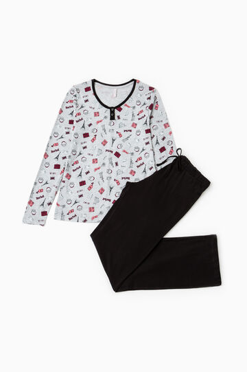 Patterned pyjamas in 100% cotton, Dark Grey, hi-res