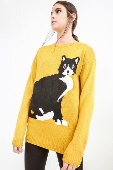 Pullover tricot con ricamo gatto, Giallo ocra, hi-res