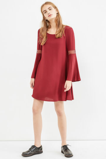 100% viscose dress with bell-bottom sleeves, Red, hi-res
