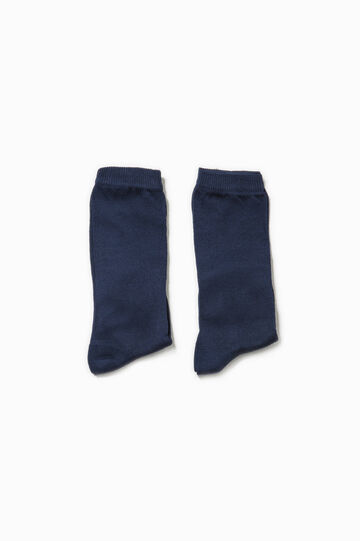 Two-pair pack long socks in cotton, Blue, hi-res