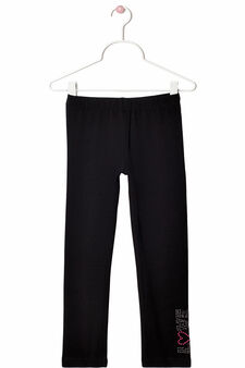 Stretch cotton leggings with rhinestone motif, Black, hi-res