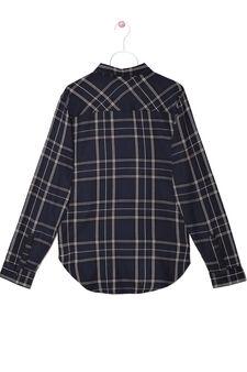 Camicia tartan puro cotone, Nero/Blu, hi-res