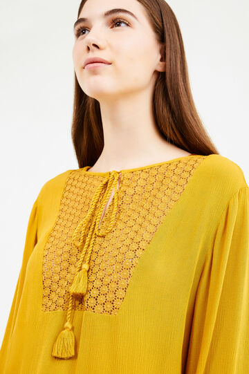 Openwork blouse with tassels, Ochre Yellow, hi-res