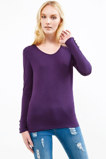 Stretch viscose T-shirt with V-neck, Royal Purple, hi-res