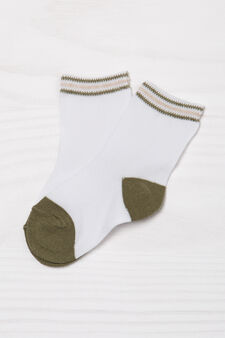 Set tre paia di calze fantasia a righe, Verde, hi-res