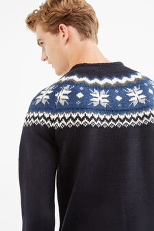 Knit round-neck pullover with embroidery, Navy Blue, hi-res