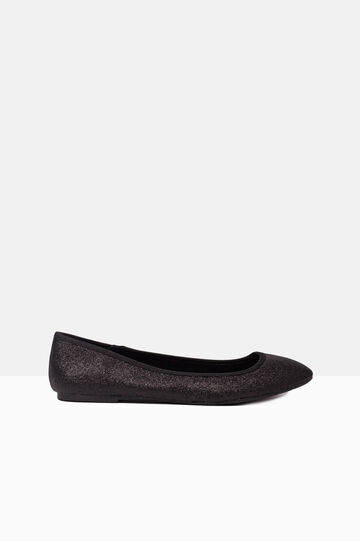 Leather look ballerina flats with glitter, Black, hi-res
