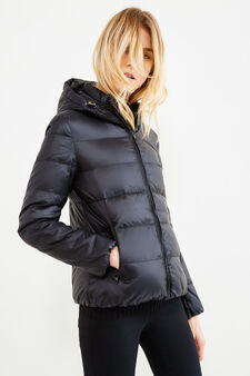 Down jacket with double pocket, Black, hi-res