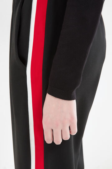 Stretch trousers with inserts, Black, hi-res
