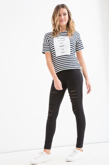Teen stretch striped T-shirt, White/Blue, hi-res