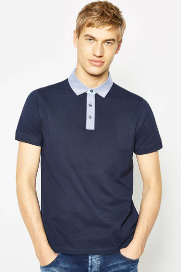 Polo shirt in 100% cotton with contrasting collar, Navy Blue, hi-res