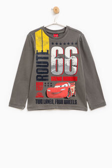 Cars maxi print cotton T-shirt, Grey, hi-res