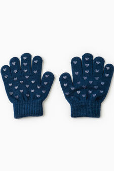 Gloves with glitter hearts, Navy Blue, hi-res