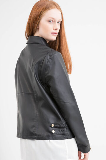 Leather look Curvy jacket with pockets, Black, hi-res