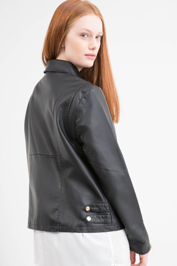 Leather look Curvy jacket with pockets | OVS