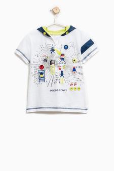 T-shirt puro cotone con cappuccio, Bianco, hi-res