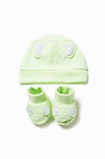 Hat and shoes set with patch, Mint Green, hi-res