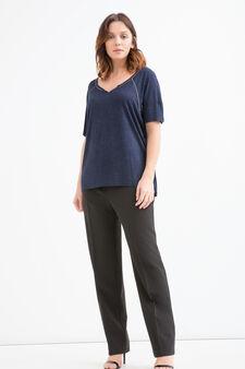 Curvy lurex T-shirt in viscose., Navy Blue, hi-res