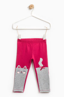 Cotton trousers with glitter print, Cherry Red, hi-res