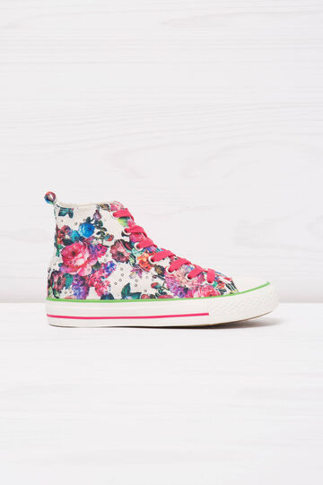 Floral print high-top sneakers, White/Pink, hi-res