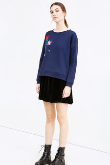 Cotton blend sweatshirt with patches, Navy Blue, hi-res