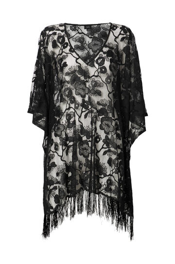 Solid colour lace beach cover-up with fringe, Black, hi-res