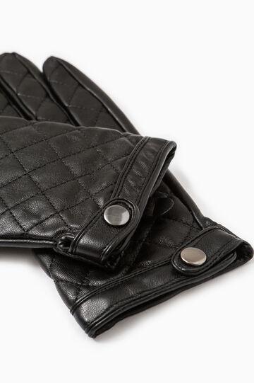 Quilted hammered-effect gloves., Black, hi-res